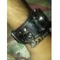 Men's Ripped Cover PU Analog Quartz Wrist Watch with Skeleton (Black)