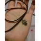 Hamsa Classic Bronze Hand Shape Leather Hamsa Pendent Necklace(1 Pc)