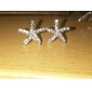 Stud Earrings Birthstones Rhinestone Alloy Star Gold Silver Jewelry For Daily