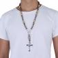Ethnic Bead Religious Cross (Jesus) Golden Alloy Pendant Necklace (1 Pc)