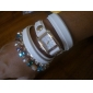 Women's Oval Dial Multi-layer Colored Rhinestone Band Quartz Analog Fashion Bracelet Watch (Assorted Color)