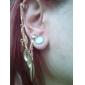 한국 유행 개성 작은 잎 귀걸이 (골드) 여자의 긴 귀걸이 E103