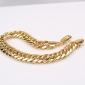 Massive 18K Yellow Gold Filled Men's Chain Bracelet Solid Double Curb Chain 9.4