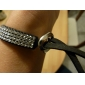 Bracelet à Plusieurs Rangs en Velours et Cristaux
