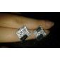Brincos Curtos Elegant Europeu imitação de diamante Liga Prateado-Preto Jóias Para Diário