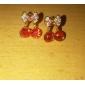 Brincos Curtos Estilo bonito Cristal imitação de diamante Liga Cereja Fruta Jóias Para Festa Diário