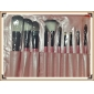 10PCS Professional Goat Hair Pink Handle Brush Set with Pink Plaid Case Cute Color