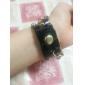 아가씨들 패션 시계 팔찌 시계 석영 PU 밴드 블랙