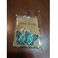lureme®turquoise 및 모조 다이아몬드 나비 귀걸이