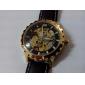 SHENHUA Masculino Relógio Esqueleto relógio mecânico Automático - da corda automáticamente Impermeável Gravação Oca PU Banda LuxuosoPreta