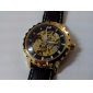 SHENHUA 남성 스켈레톤 시계 기계식 시계 방수 중공 판화 오토메틱 셀프-윈딩 PU 밴드 럭셔리 블랙 브라운