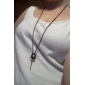 Korean personality ring ring cross imitation leather cord evil retro female sweater chain N504