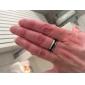 (1pc) Fashion Black And White Titanium Steel Band Ring Jewelry