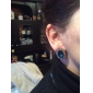 Shiny Rhinestone Alloy Stud Earrings (Red,Blue,Green) (1 Pair)