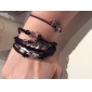 Women's Charm Bracelet Leather Bracelet Wrap Bracelet Personalized Vintage Inspirational Fashion Multi Layer European Leather Fabric Alloy