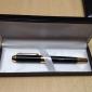 Ручка гелевая именная металлическая, черная с золотом