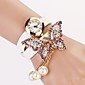 Women's White Dial Diamond Two-layer Band Butterfly Pearl Pendant  Fashion Quartz Bracelet Watch Cool Watches Unique Watches Strap Watch