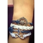 Mulheres Enrole Pulseiras Pulseiras de couro Confeccionada à Mão Personalizado Vintage Moda Multi Camadas bijuterias Pele Tecido Âncora