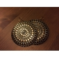 Women's Vintage Round Pattern Striped Plane Alloy Earrings  Cinnamon (1Pair)