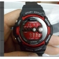 남성용 스포츠 시계 손목 시계 디지털 알람 달력 방수 LCD 고무 밴드 블랙
