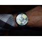 유니섹스 화려한 격자 무늬 검정 PU 밴드 석영 손목 시계 (분류 된 색깔)