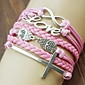 Fashion Leather LOVE Cross Shape Wrap Bracelets(1 Pc)
