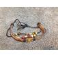 leather Charm Bracelets Lureme®Fashion Multi-Beads Leather Rope Braided Shell Bracelet