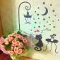 motif nuit amateurs de lampadaires de chat pvc papier peint bricolage