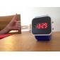 Montre LED Sportive, En Silicone, Cadran Carré, Unisexe - Bleue