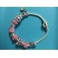 European Pandoran pink Rhinestone  flower  Pandent Silver Alloy Charm Bracelet 2015 new item new arrivale (1 pc)
