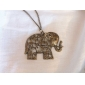 European and American jewelry retro hollow carved cute elephant sweater chain N478