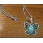 Femme Pendentif de collier Saphir Forme d'Animal Papillon Gemme Imitation Diamant Alliage Mode Bijoux de Luxe Bijoux PourSoirée Quotidien