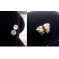 Gold plated bronze zircon stud Earrings ERZ0269