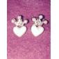 Brincos Curtos Coração Liga Formato de Coração Formato Coroa Jóias Para Diário