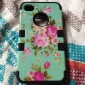 3 in 1 Hybrid Elegant Penoy Flower Pattern Hard Soft Silicone Back Case Cover Fit For iPhone 4/4S(Assorted colors)
