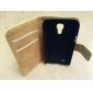 genuína carteira de luxo de couro com suporte e slot para cartão de samsung galaxy s4 mini-i9190