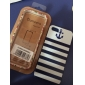 Blue Stripes Anchor Pattern Hard Case & Touch Pen for iPhone 5/5S