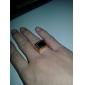 Homens Maxi anel Gema Preto Natural Personalizada Amor Aço Inoxidável Acrílico Chapeado Dourado 18K ouro Quadrada Forma Geométrica Jóias
