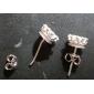 Brincos Curtos Prata de Lei Zircônia Cubica Formato Coroa Branco Jóias Para Casamento Festa Diário Casual