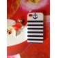 Blue Stripes Anchor Pattern Hard Case & Touch Pen for iPhone 4/4S