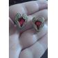 encantadoras brincos de cristal vermelho em forma de coração das mulheres