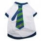 Tshirt em Algodão para Cachorros - Gravata às Riscas (XS-M, Branco)