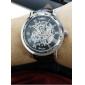 WINNER 남성 손목 시계 기계식 시계 중공 판화 메카니컬 메뉴얼-윈딩 PU 밴드 럭셔리 블랙
