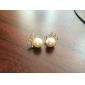 Diamond  Pearl Bow Round Stud Earring