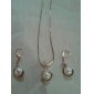 Fashion Golden Imitation Pearl (Includes Pendant Necklace&Drop Earrings)Jewelry Set(Coppery)