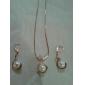 Moda Ouro Imitação de Pérola (Inclui Pendant Necklace & Earrings Drop) Jewelry Set (Cobre)