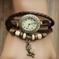 Women's Watch Bohemian Owl Pendant Leather Band Bracelet Strap Watch Cool Watches Unique Watches Fashion Watch