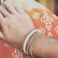 Fashion 7Cm Women'S Golden Alloy Chain & Link Bracelet(Black,White)(1 Pc) Christmas Gifts