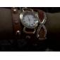 круглый бриллиант женщин набрать PU Кожаный ремешок любовь бантом подвеска кварцевый аналоговый моды талии часы