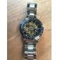 Heren Polshorloge mechanische horloges Automatisch opwindmechanisme Hol Gegraveerd Roestvrij staal Band Luxueus Zilver Zwart